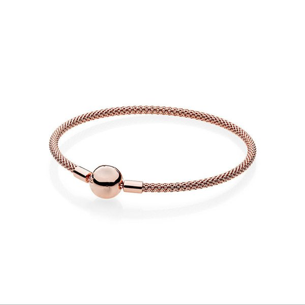 New 925 silver Round buckle Mesh bracelet DIY beads Bracelet Fit original charms Women Jewelry