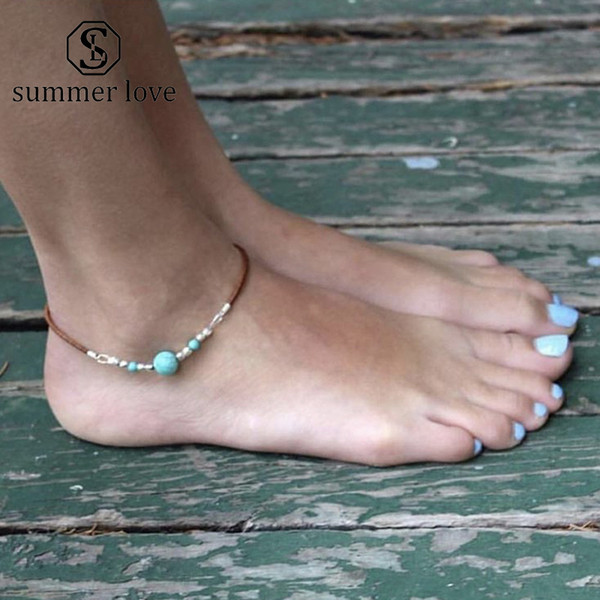 New Bohemian Velvet Blue Turquoise Beaded Ankle For Women Men Beach Silver Beads Lady Fashion Anklets Foot Jewelry On The Leg