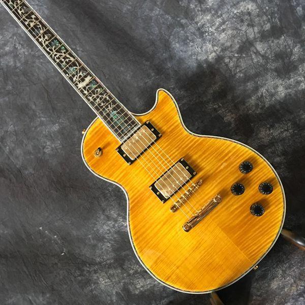 Factory custom 2019 hot abalone flower inlaid fingerboard electric guitar, custom custom color micro-standard