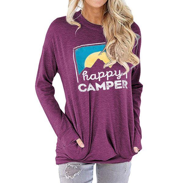 best selling Happy CAMPER Letter Printed Hoodie 3 Colors Women Pocket Printed Round Neck Long Sleeve Shirts LJJO7216-1