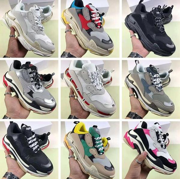 Горячая повседневная обувь качество Мода Повседневная Shoe17FW Тройной S Sneaker Повседневная Папа Обувь для мужчин Женщин Черный розовый белый Ceahp Спортивный Размер 36-45