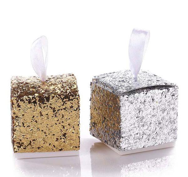 Caixas de bombons do casamento da caixa do favor da festa de casamento Caixa de presente da vela do brilho da prata / ouro para o convidado