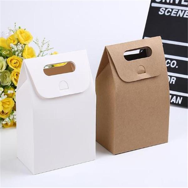 10 * 6 * 16 cm Geschenk Kraft Box Craft Tasche mit Griff Seife Süßigkeiten Bäckerei Cookie Kekse Verpackung Papier Boxen 0505ayq