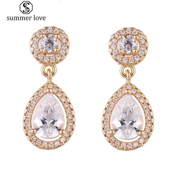 High Quality Cubic Zirconia Waterdrop Dangle Earring for Women Girl Elegant Clear Zircon Silver Gold Drop Earring Wedding Party Jewelry Gift