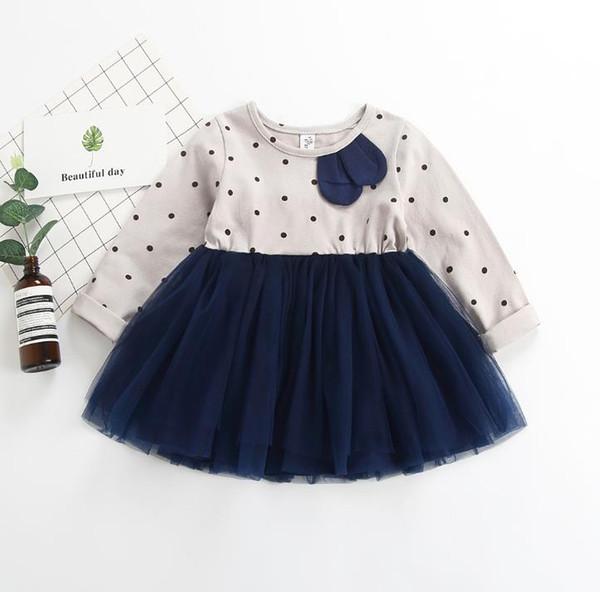 New Spring Baby Girls Cotton Dress Kids Dots Long Sleeve Lace Tulle Tutu Princess Dress Children Girl Casual Dresses 14543