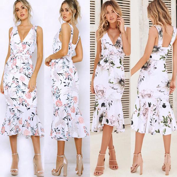 Floral Print Ruffle Dress Women 2019 Spring Summer Femme Sexy Midi Sundress V Neck Sleeveless Vintage Beach OL Dress with Belt