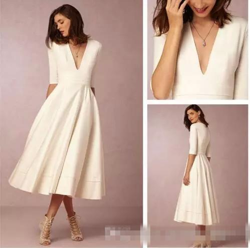 Summer 2019 Tea-length Cheap Wedding Dresses Ivory Satin Deep V Neck 3/4 Long Sleeve Short Bohemian Beach Bridal Gowns Vestidos de Novia