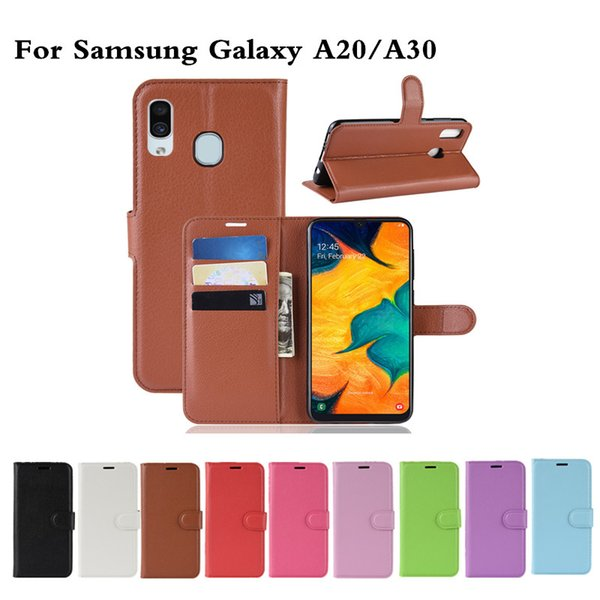 Litchi Pattern Flip PU Leather Wallet Phone Case For Samsung Galaxy A20 / A30 / A50 Lychee grain cover