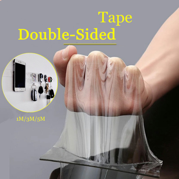 top popular 1m 3m 5m Double Sided Tape Washable Reuse Nano Magic Tape Transparent No Trace Waterproof Adhesive Clear 2021