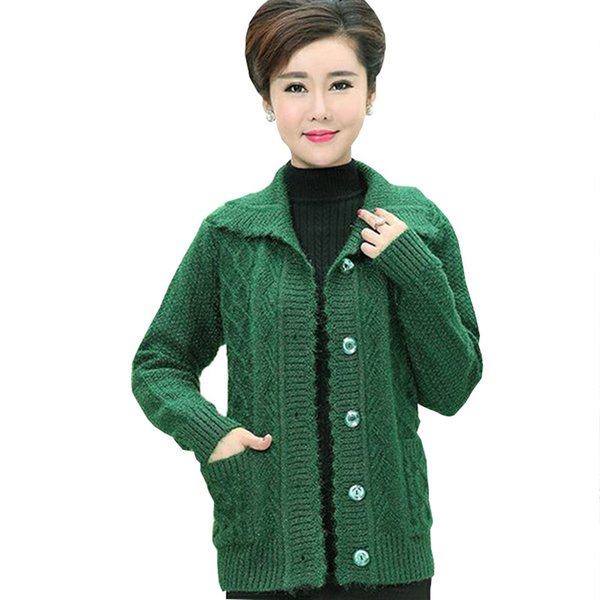 Middle age Plus size Winter Women Wool Sweater Cardigan Coat 2017 Mother Clothes Thicker Christmas Sweater Pull Femme Hiver Z208