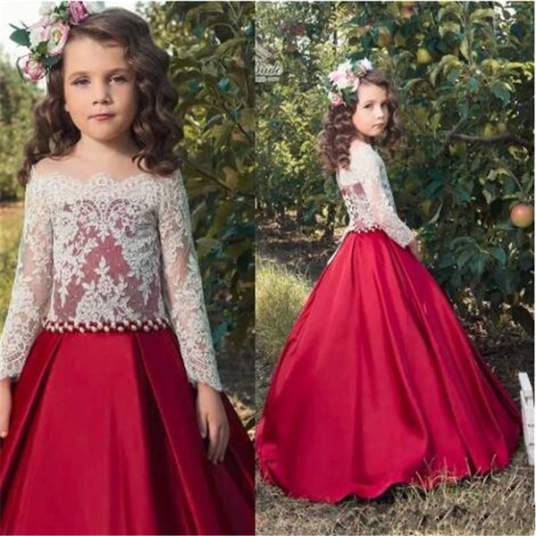 Adorable White Lace Crop Red Satin Flower Girl Dresses For Wed Skirt Long Formal Kids Party Birthday Communion Dress Toddler Pageant Gowns