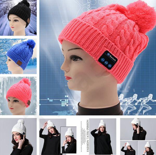 New Men women Beanie Bluetooth hat call music stereo warm hat cool knit Bluetooth headset fashion cap 60pcs T1I1138