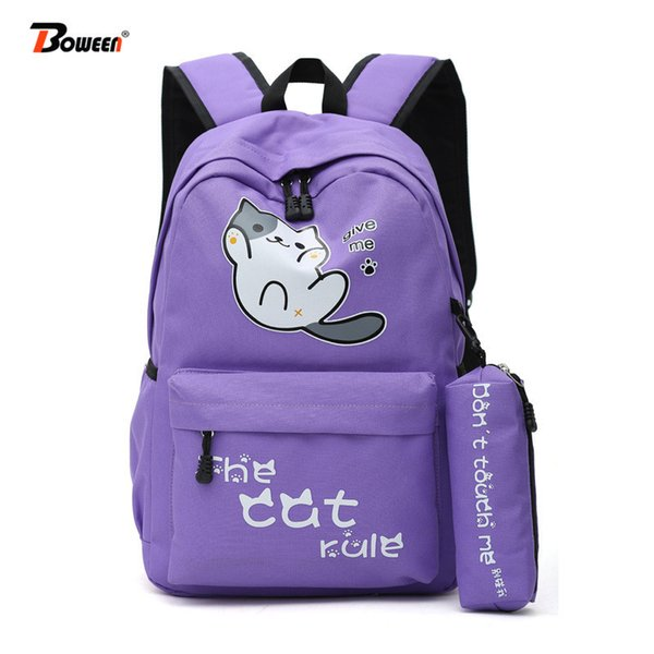 School Bags For Teenage Girls Cute Cat Backpack Schoolbag Women High Student School Bag Bagpack Big Solid Nylon Bookbag Teen J190627