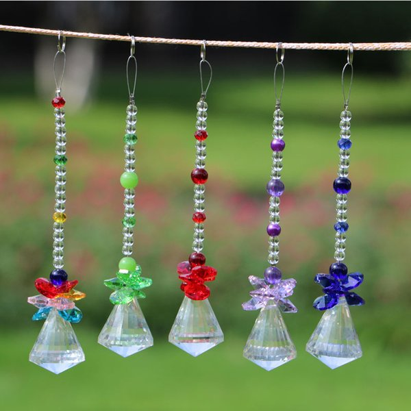 5PCS Pink Crystal Glass Ball Pendants Chandelier Prisms Parts Beads,1.2 Inch