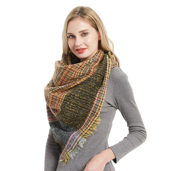 New Fashion Womens Winter Minigaga fichu Soft Plaid Tartan Checked Scarf Large Blanket Wrap Shawl Polyester triangle Scarves