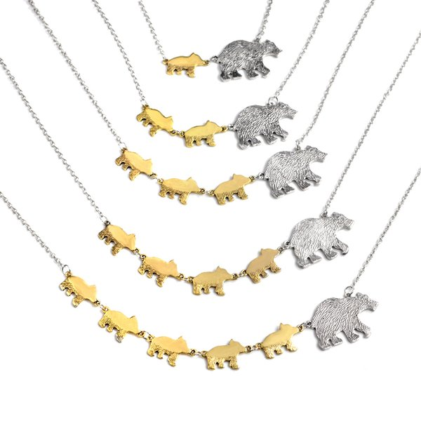 """Simple Pendant 1-5 Baby """"Mother Bear And Bear Baby"""" Bear Pendant Necklace Mother's Day Gift Necklaces Parent-child Jewelry"""