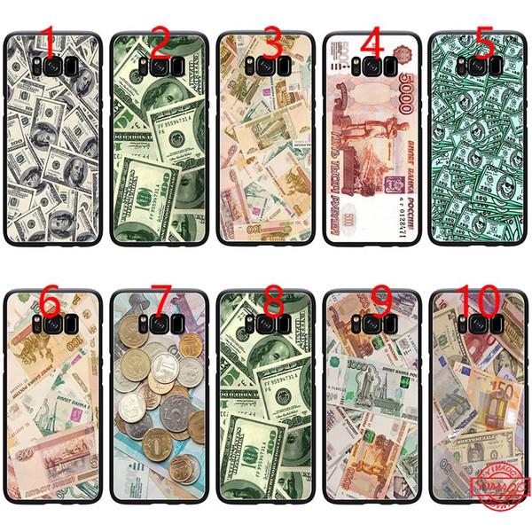 Rusa USD USD RUB Funda de teléfono TPU negra suave para Samsung Note 9 8 S8 S9 Plus S6 S7 Edge Cubierta