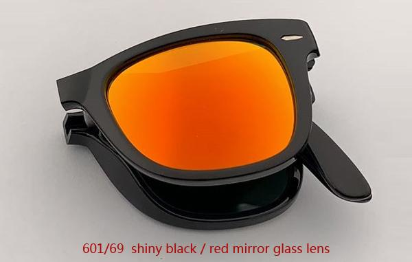 601/69 عدسة مرآة سوداء / حمراء لامعة