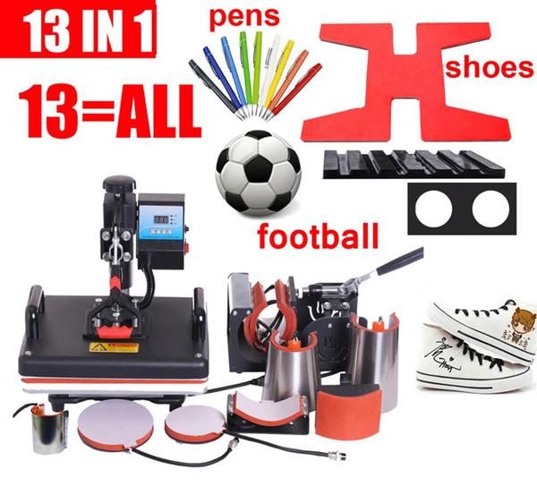 14 TODO en 1 Máquina de prensa de calor, Máquina de prensa de pluma por sublimación, Máquina de transferencia de calor para bola / Zapatos / Cap / Mug Plate / Camisetas