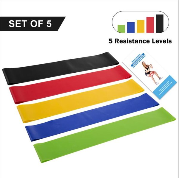 Set Resistance Band fitness 5 livelli Latex Gym Strength Training Loop in gomma Elastici Attrezzature per il fitness Sport cintura yoga Giocattoli YSY179
