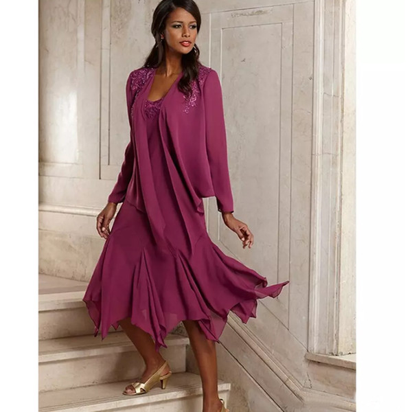 2019 Vintage Elegant Chiffon Plus Size Mother Of The Bride Dresses With Jacket Tea Length Groom Pant Suits Gowns For Weddings