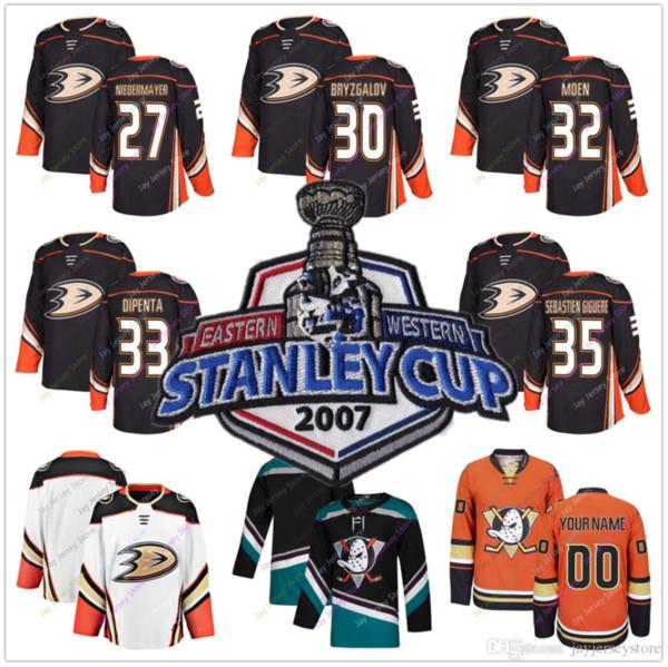 2007 Stanley Cup Jersey Hóquei No Gelo Anaheim Patos Scott Niedermayer Ilya Bryzgalov Travis Moen Joe DiPenta Jean-Sébastien Giguere Homens Barato