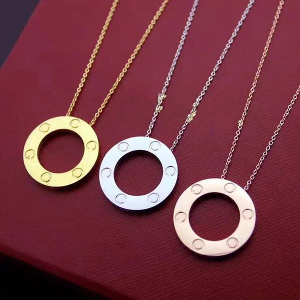 top popular full cz stainless steel love necklaces & pendants fashion choker necklace women men Lover neckalce jewelry gift with velvet bag 2021