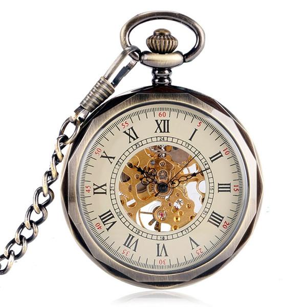 Orologi da tasca meccanici di lusso Uomini Wind Up Steampunk Orologio da tasca a vento con catene Regali Regali Orologio da tasca Reloj Mujer