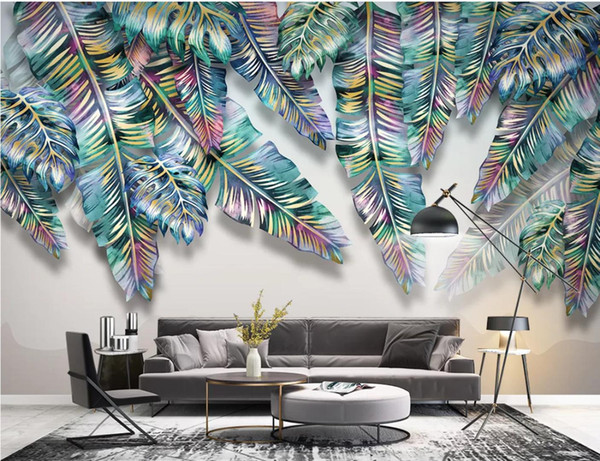 Nordic Tropical Leaf Mural Art Wallpaper 3D Wall Mural Photo Wall Paper Contact Paper Papel De Parede 3d Plant Leaves Cover