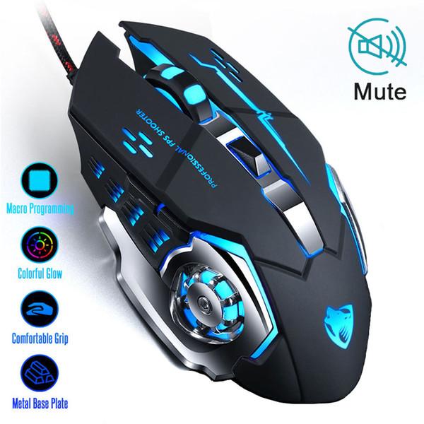 Cable de ratón Ratones Teclados nuevo profesional ratón para juegos 8D 3200DPI ajustable óptico atado con alambre LED Ordenador Gamer Juego ratones USB para el ordenador portátil