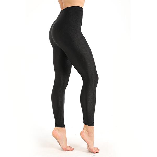 Leggings de treino feminino Casual brilhante brilhante Legging feminino Fiteness Leggins Plus Size M-xxxl Leggings fluorescentes sólidas pretas