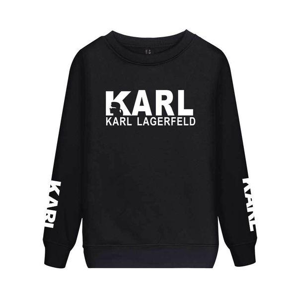 Karl Carta Imprimir Mens Sweatshirt Designer Casual mangas compridas Pollover partes superiores das mulheres dos pares da forma roupas combinando