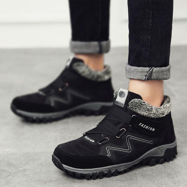 2019 36-46 защитная обувь плюшевые теплые зимние мужские сапоги анти-занос зимние сапоги мужчины большой размер высокое качество