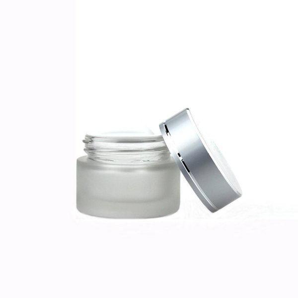 Frosted/matte clear empty glass cream jar 30g cosmetic pots glass foundation cream jar 30ml wide mouth medical jar with silver lid