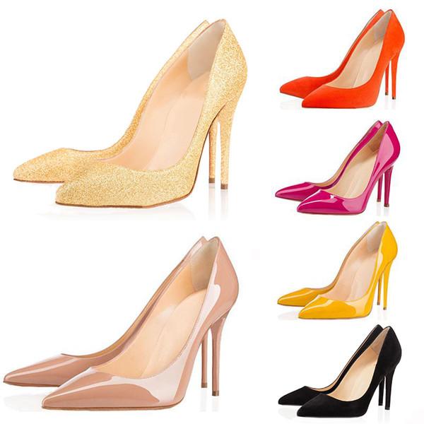 Nouveau Designer de luxe Femmes Chaussures Bas Rouge avec boîte Escarpins Talons Nus Nus Bout Pointu Robe Chaussures De Mariage 8/10/12 CM 35-42