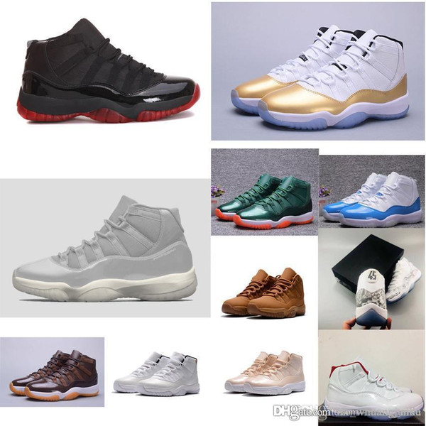 Cheap new men Jumpman 11 XI basketball shoes 11s closing ceremony Gold Black Blue Grey white j11 air flight sneakers boots for sale with box