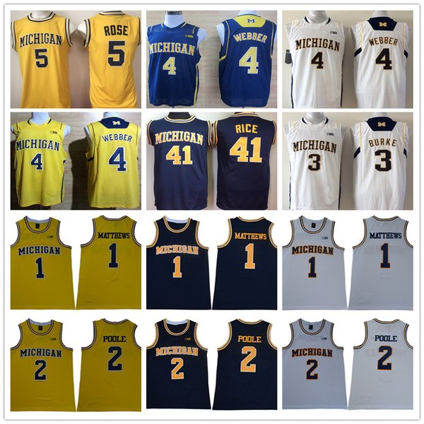 NCAA Charles Matthews 2 Poole Chirs Webber Trey Burke Jalen Rose Glen Rice White Blue Yellow Michigan Wolverines College Basketball Jerseys