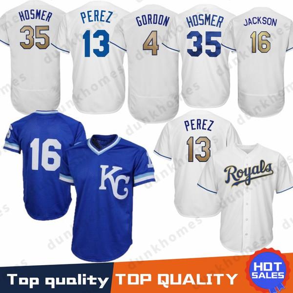 2019 Embroidery 16 Bo Jackson Kansas City Royals Baseball Jerseys 4 Alex  Gordon 35 Eric Hosmer 5 George Brett 13 Salvador Perez 100% Stitched From