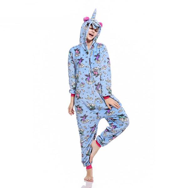 Unicorn Kigurumi Onesie Zipper Design Animal Cartoon Pajama Print Rainbow Stars Fly Unicorns Sleepwear Women Girl Carnival Suit
