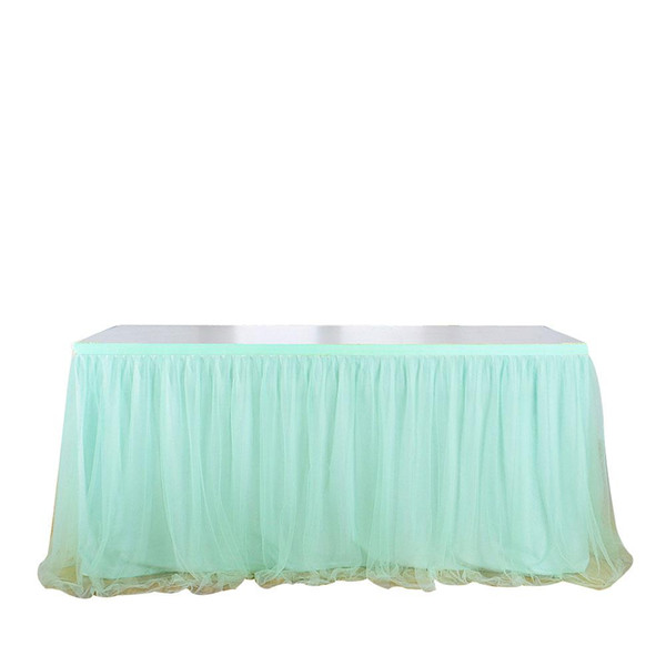 Adeeing Elastic Mesh Table Skirt Tulle Tableware Tablecloth for Party Wedding Birthday Home Decoration Mint Green