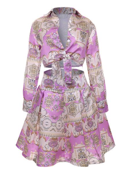 Falda plisada de verano Vestido de dos piezas Las mujeres imprimen manga larga 2PCS Sets Hot Ladies Faldas con botón