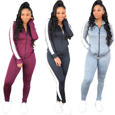 2018 winter new women's suit European and American sexy hot fashion casual tight leg sports suit two-piece