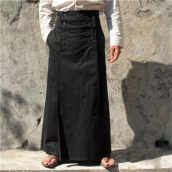 Ренессанс этап Cosplay Средневековая Урожай Maxi Длинные юбки для взрослых мужчин Мужской костюм ретро плиссированные юбки с кнопкой