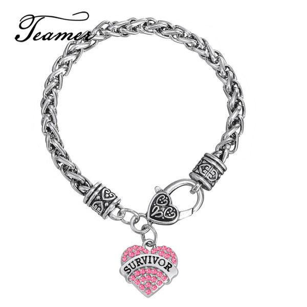 eart bracelet Teamer Brand Survivor Breast Cancer Pink Ribbon Crystal Heart Charm Bracelet Jewelry Gift Antique Silver Color Link Wheat C...