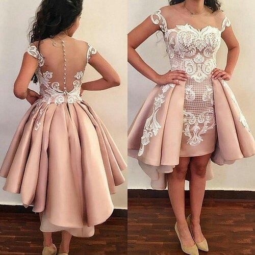Sweetheart Cap Sleeve Rose Gpld Satin Cheap High Low Prom Dresses Lace Applique Dinner Party Dresses Illusion Back Tea Lunghezza Abiti formali