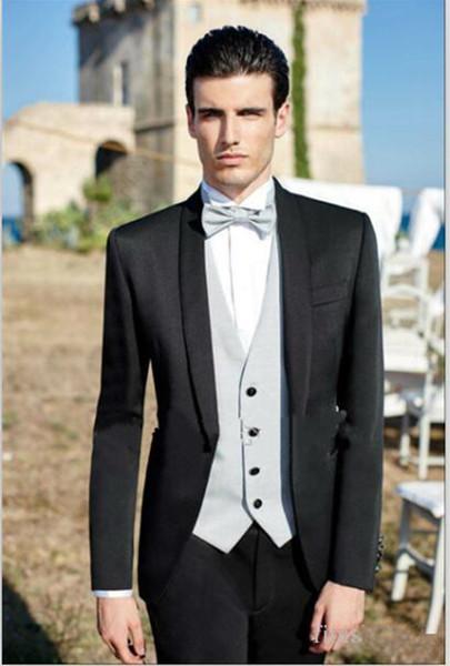 Nuevo diseño Nuevo Un botón Negro Novio Trajes de esmoquin de pana Collar para hombre El mejor hombre se adapta a los trajes de chaqueta de hombre (chaqueta + pantalón + chaleco + corbata) 1058