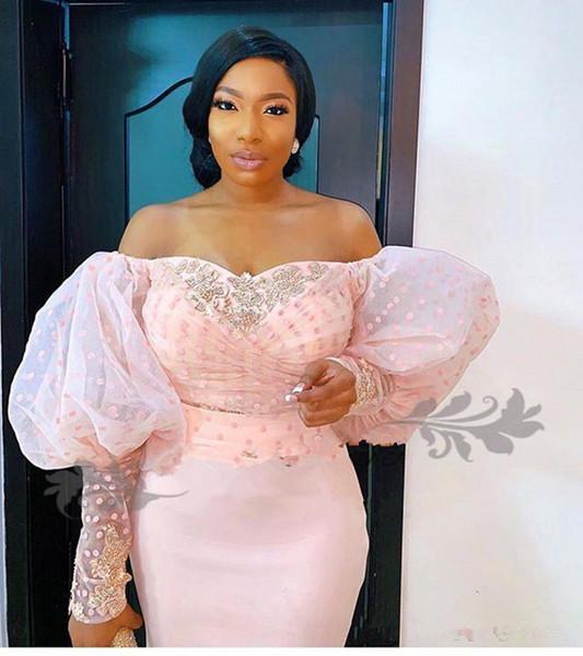 New nigeriano rendas manga longa vestidos de noite fora do ombro manga Puff elegante frisado árabes africanos formal vestidos de festa de baile de celebridades