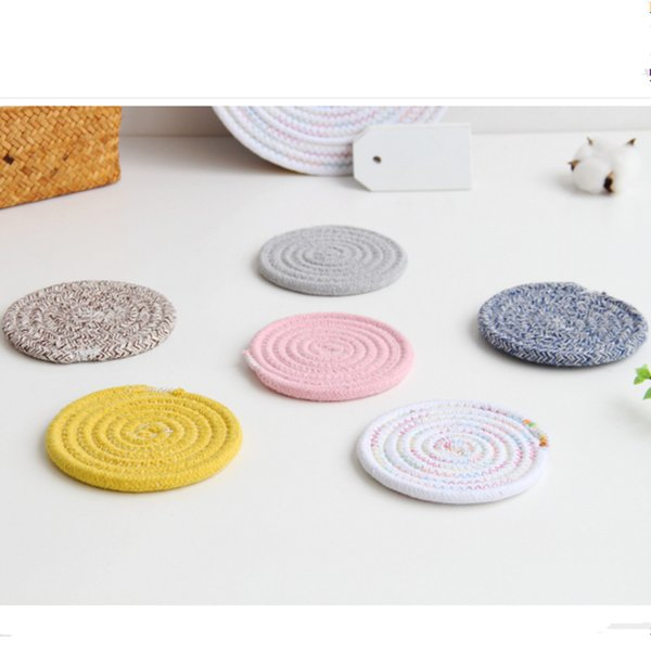 12cm Cotton Line Hand-woven Placemat Handmade Crocheted Table Mat Disc Pads Bowl Pad Coasters Non-Slip Table Decor BBB0391