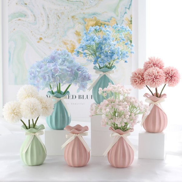 Fleurs artificielles Babysbreath Wedding Bouquet Arrangement Accueil Fleurs Décoratives avec Vase pour Bunch Hôtel Party Garden Floral Decor