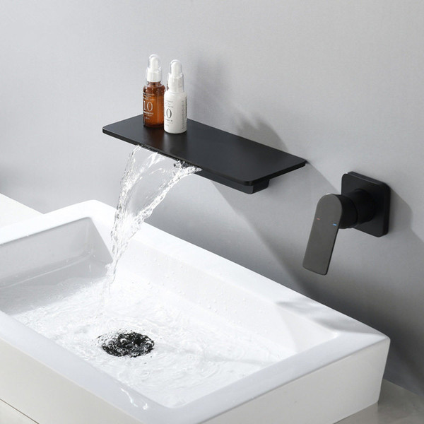top popular Waterfall Faucet Matte Black Wall Mounted Bathroom Bathtub Faucet Large Shelf Platform Basin Water Mixer Quality Tap 2021